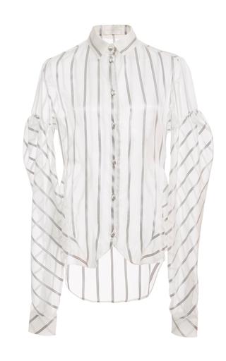 Medium christian siriano stripe puff sleeve stripe shirt
