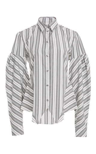Medium christian siriano stripe puff sleeve multi stripe shirt