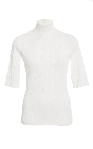 Medium christian siriano white ribbed short sleeve turtleneck top