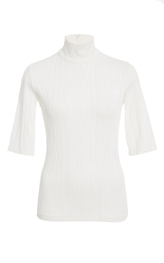 Medium christian siriano white ribbed short sleeve turtleneck top