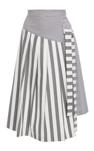 Medium christian siriano stripe multi stripe side tie skirt