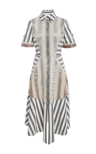 Medium christian siriano stripe mixed stripe shirt dress