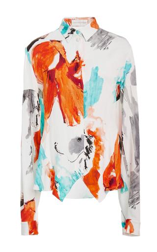 Medium christian siriano print watercolor silk blend shirt