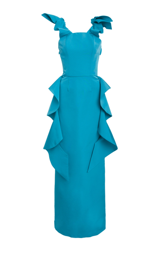 Medium christian siriano blue flounce sleeveless gown