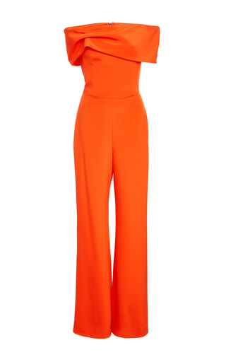 Medium christian siriano orange crepe strapless jumpsuit