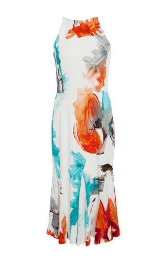 Medium christian siriano print watercolor halter silk dress