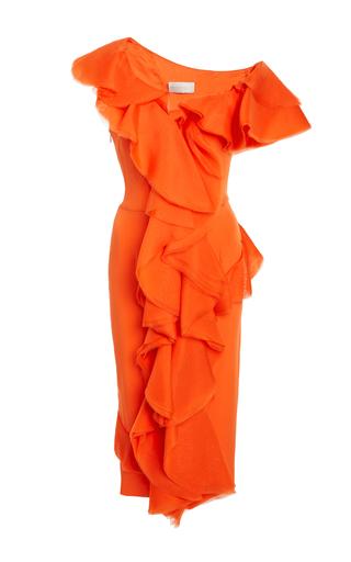 Medium christian siriano orange flounce crepe dress