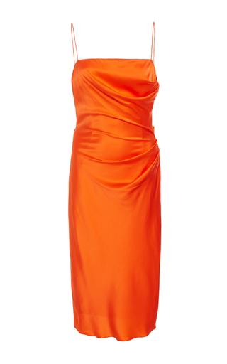 Medium christian siriano orange silk draped slip dress