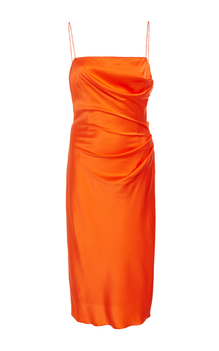 Medium christian siriano orange silk draped slip dress