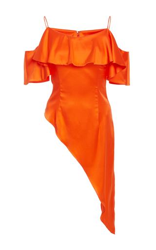 Medium christian siriano orange asymmetrical ruffle top