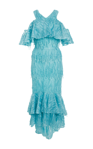 Medium christian siriano blue embroidered tassel ruffle dress