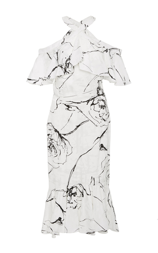 Medium christian siriano black white printed halter ruffle dress