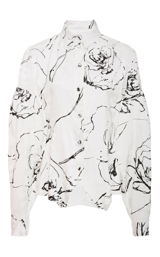 Medium christian siriano white printed oxford shirt