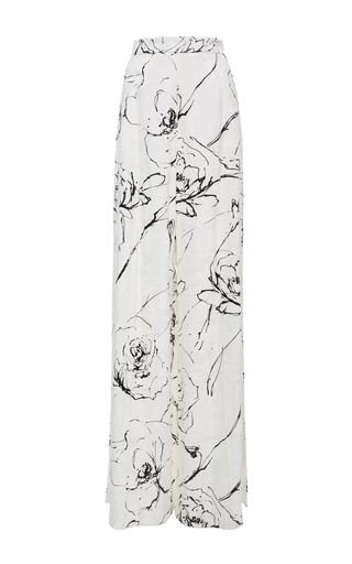 Medium christian siriano white printed high rise wide leg pant