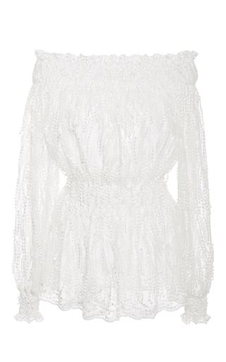 Medium christian siriano white embroidered tassel off the shoulder blouse