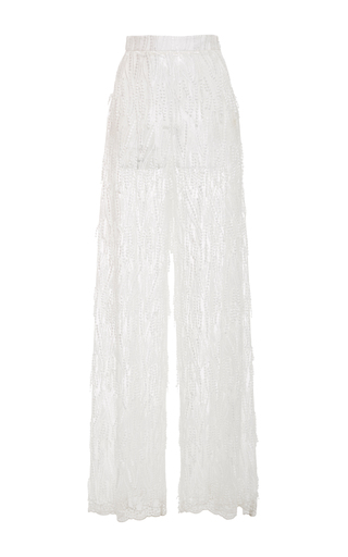 Medium christian siriano white embroidered tassel wide leg pant