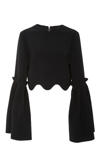 Medium christian siriano black scalloped long sleeve cropped top