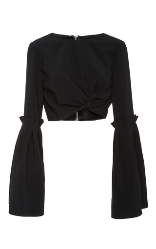 Medium christian siriano black tie box pleat cropped top