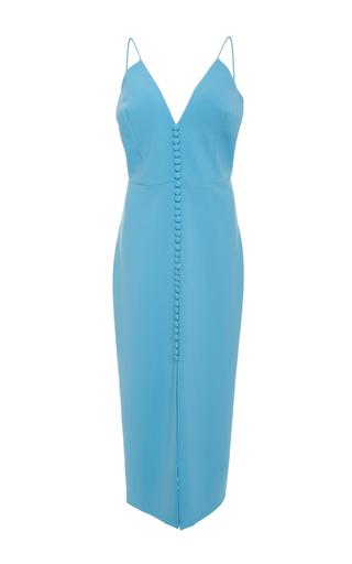 Medium christian siriano blue center button front slit dress