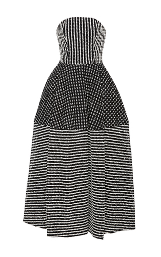 Medium christian siriano black white raffia tea length dress