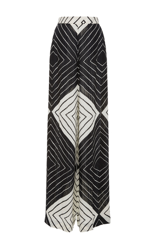 Medium christian siriano black white diamond stripe palazzo pant