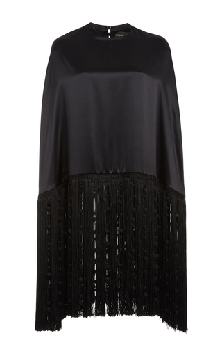 Medium christian siriano black fringe satin cape