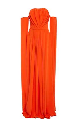Medium christian siriano orange ruffle off the shoulder gown