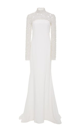 Medium christian siriano white crystal embroidered crepe column gown