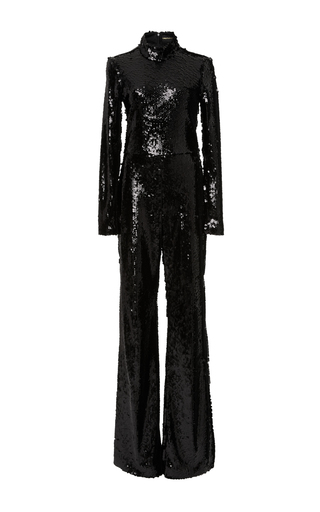 Medium christian siriano black sequin long sleeve jumpsuit