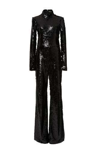 Medium christian siriano black sequin long sleeve jumpsuit