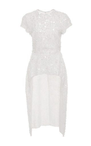Medium christian siriano white crystal embroidered tunic
