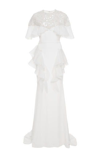 Medium christian siriano white crystal embroidered flounce gown
