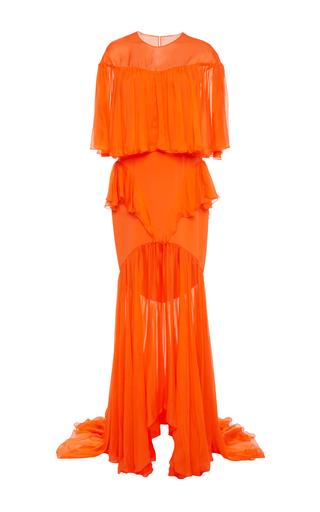 Medium christian siriano orange satin chiffon ruffle crepe gown