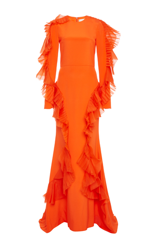 Medium christian siriano orange long pleated ruffle gown