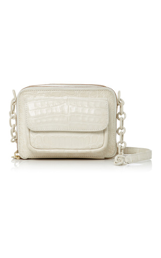 Medium nancy gonzalez white crocodile shoulder bag
