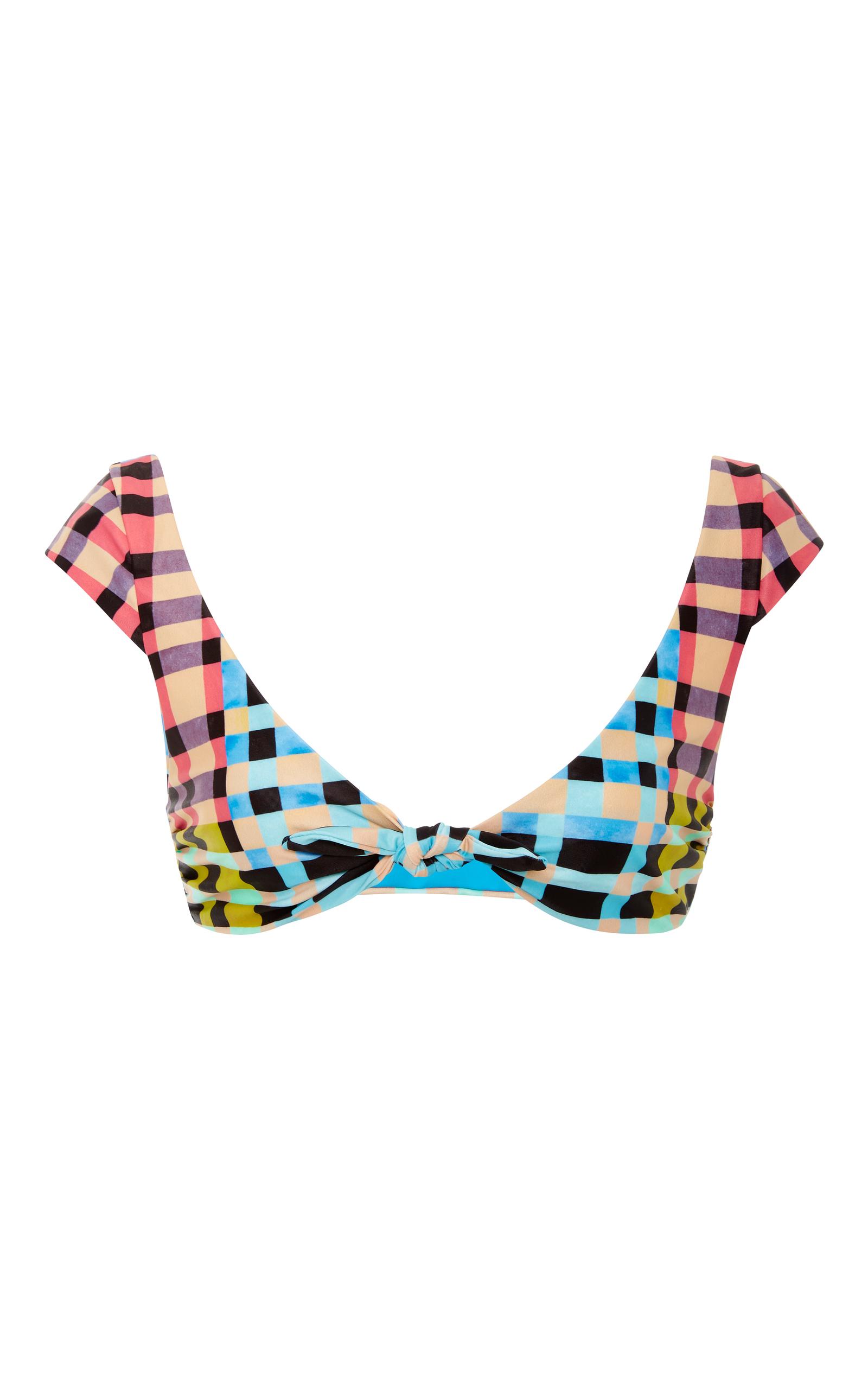 408be5aeac71d Plaid Cap Sleeve Tie Front Bikini Top by Mara Hoffman | Moda Operandi