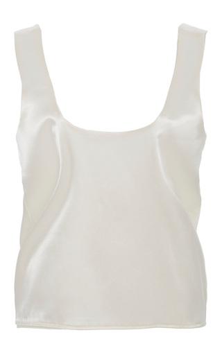 Medium caroline hayden white satin scoop neck blouse