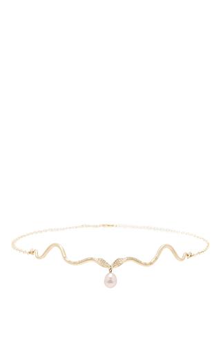Medium annette ferdinandsen pink serpent choker with pave diamonds and pearl drop