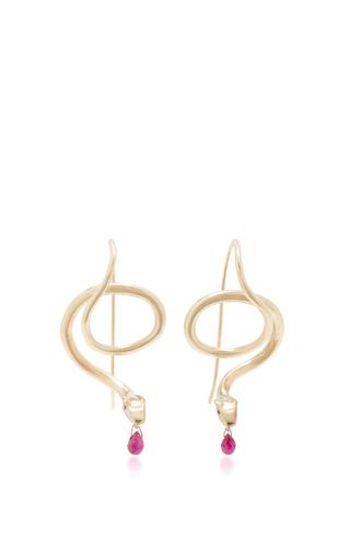 Medium annette ferdinandsen red serpent earrings with ruby eyes and ruby drops