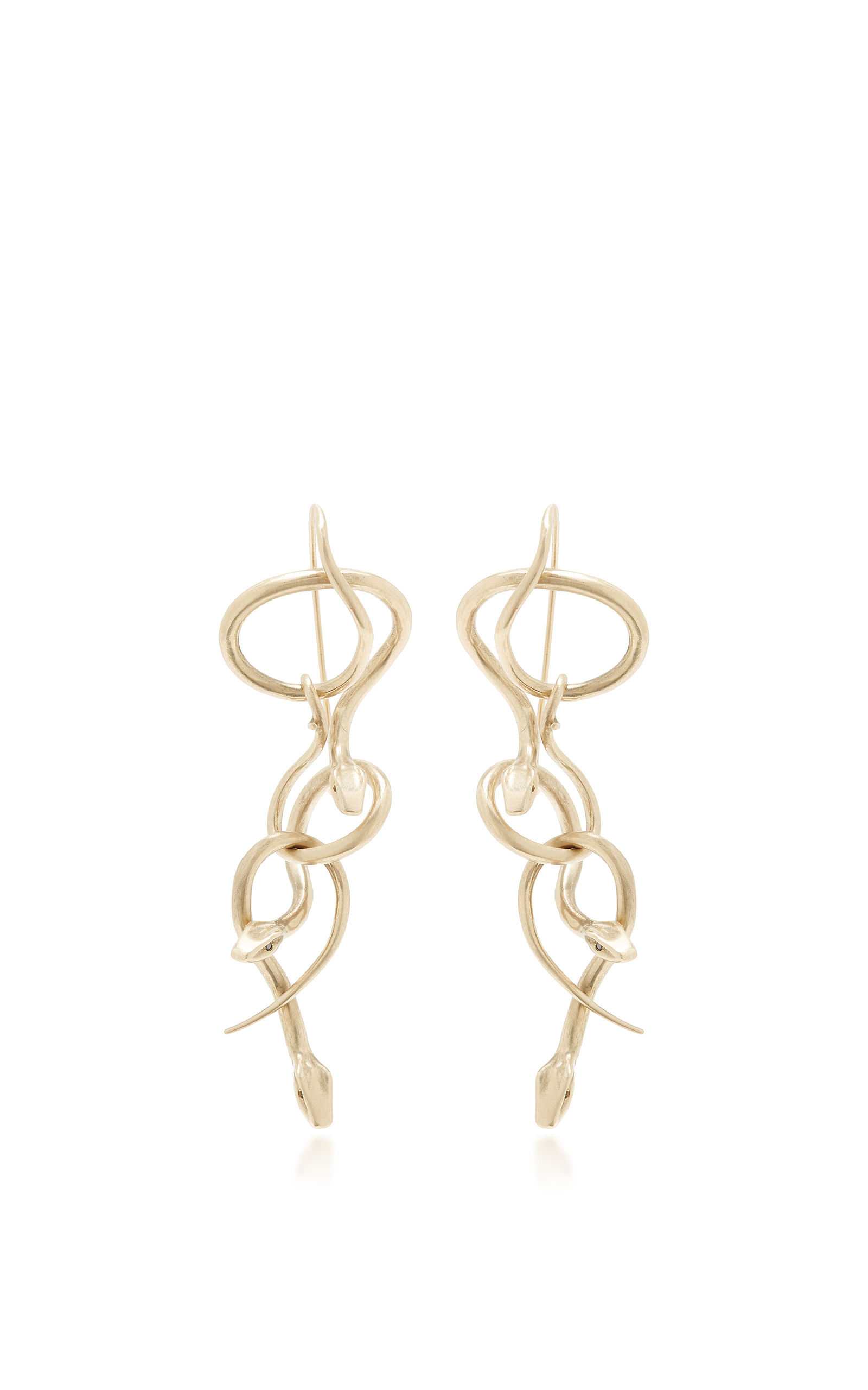 Serpent Chandelier Earrings with Black Diamond Eyes by – Black Diamond Chandelier Earrings