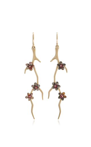 Medium annette ferdinandsen black blossom branches with black mother of pearl and ruby blossoms