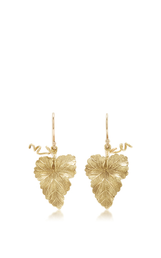 Medium annette ferdinandsen gold hanging grape leaf earrings