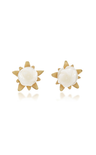 Medium annette ferdinandsen gold white coral rose studs
