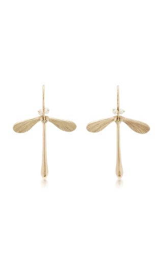 Medium annette ferdinandsen gold damsel earrings with pearl eyes