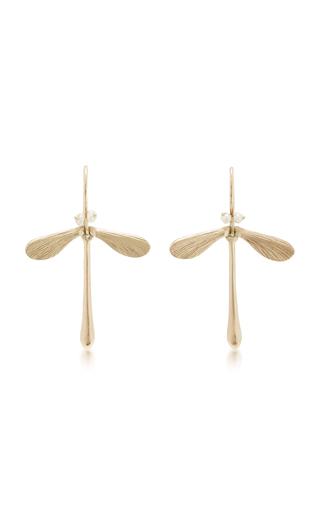 Medium annette ferdinandsen gold damsel earrings with pearl eyes