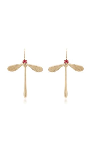 Medium annette ferdinandsen red damsel earrings with ruby eyes