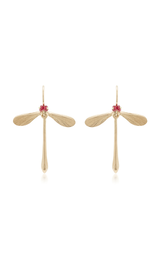 Medium annette ferdinandsen red damsel earrings with ruby eyes