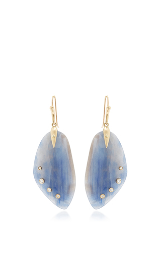 Medium annette ferdinandsen blue sapphire jeweled wing earrings with diamonds