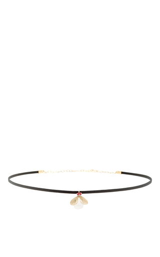 Medium annette ferdinandsen red jeweled bug choker with rainbow moonstone and ruby