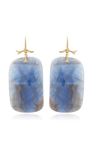 Medium annette ferdinandsen blue large natural sapphire slices hanging from golden branch